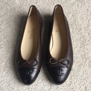 Brown and Black Chanel Flats